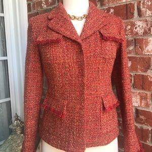 Alfani Boucle orange jacket with fringe. Size 2